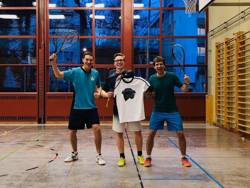 Drei Crossminton Spieler der Speeders Zürich